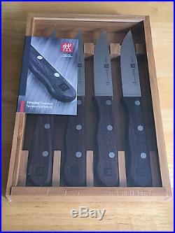 ZWILLING J. A. Henckels 4 Piece Steakhouse Steak Knife Set Storage Case NIB $100